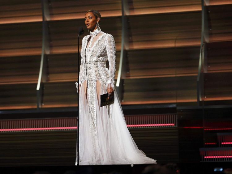 Beyonce presents the Best Record of the Year award during the 58th Grammy Awards in Los Angeles