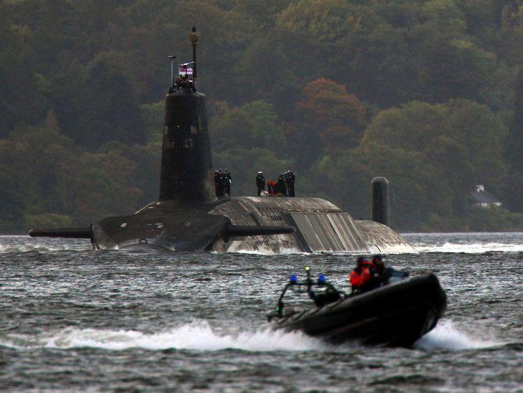 A nuclear submarine leaves the Scottish Faslane naval base