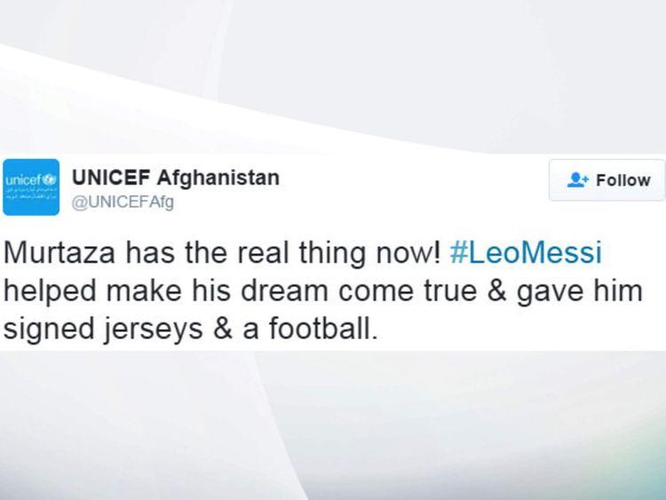 Afghan Messi fan UNICEF tweet