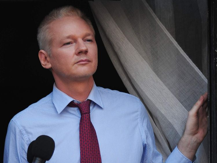 Julian Assange on the balcony at the Ecuador Embassy