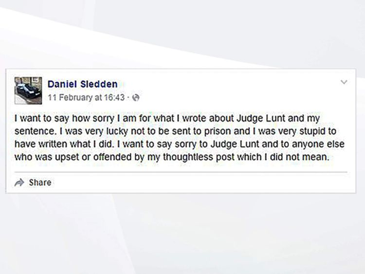 Daniel Sledden apologises over facebook post