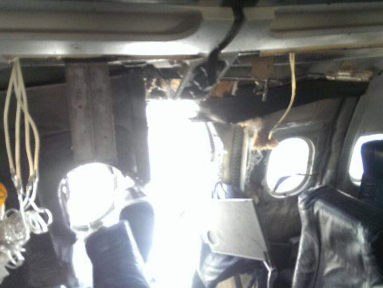 The explosion on board a plane in Somalia that caused it to make an emergency landing.