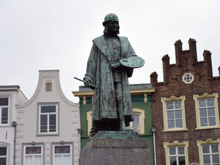 A bronze statue of late Dutch painter Hieronymus Bosch