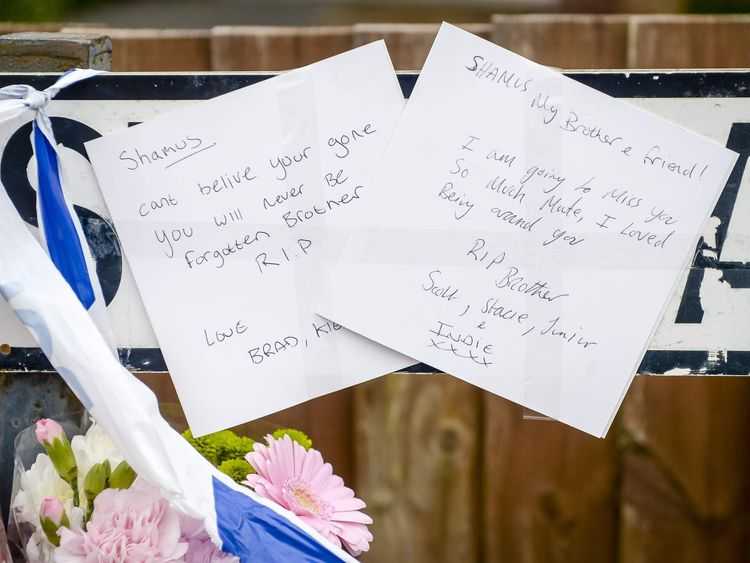 Floral tributes by Stothard Road in the Lockleaze area of Bristol, where a 17-year-old boy was taken to Southmead Hospital with knife wounds and died of his injuries.