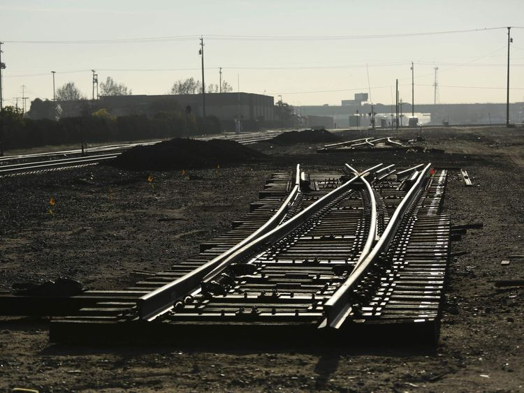 Set of railroad tracks is pictured prior to a ceremony for the California High Speed Rail in Fresno