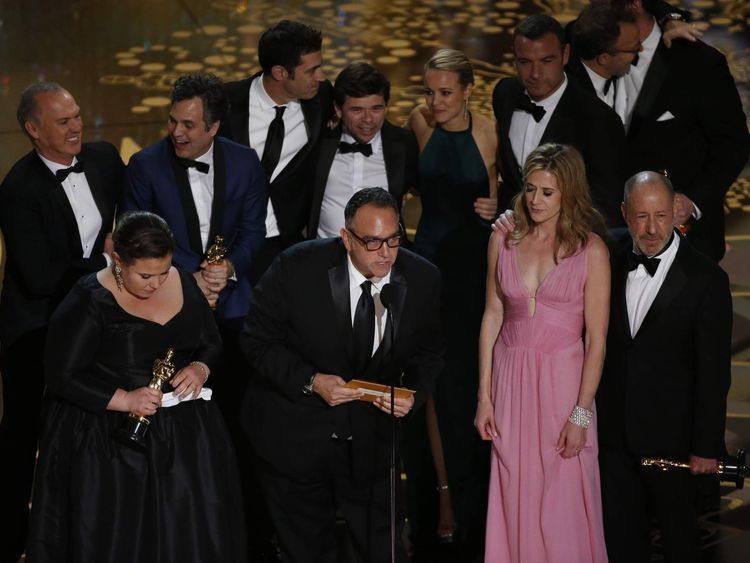 Producer Michael Sugar accepts the Oscar for Best Picture for his film Spotlight