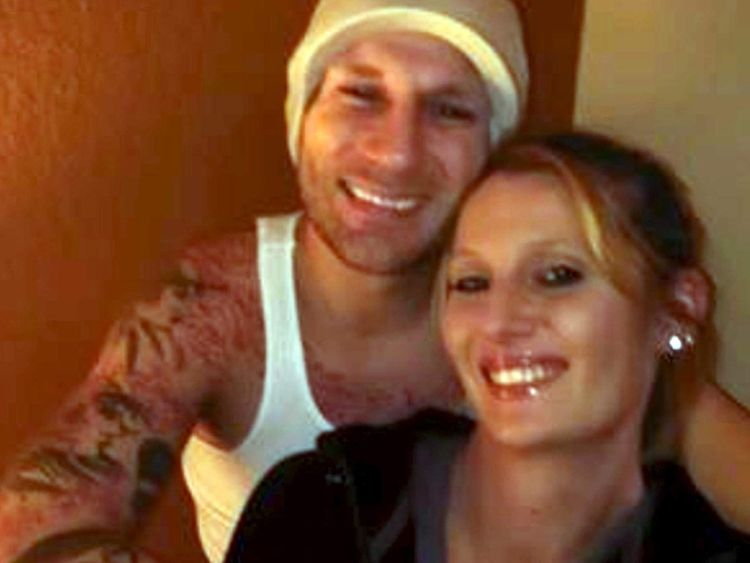 Blake Fitzgerald and his girlfriend Brittany Nicole Harper are seen in an undated social media photo released by the U.S. Marshals Service