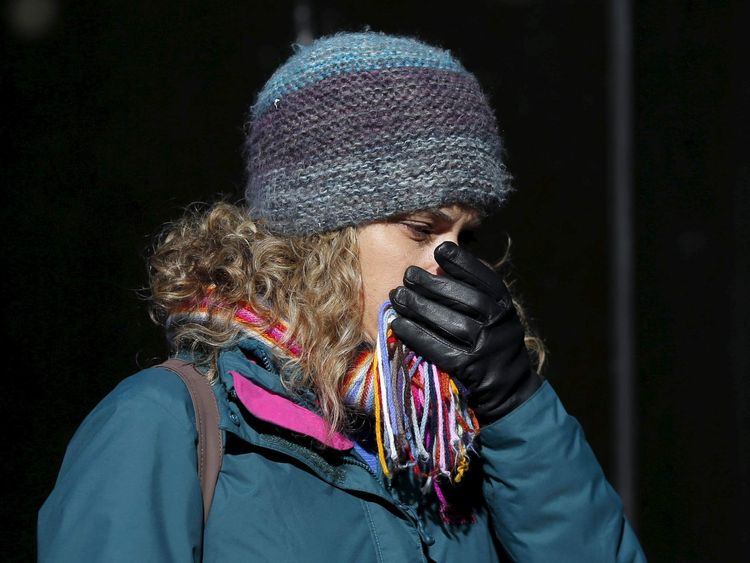 A woman is seen bundled up from the cold in NewYork