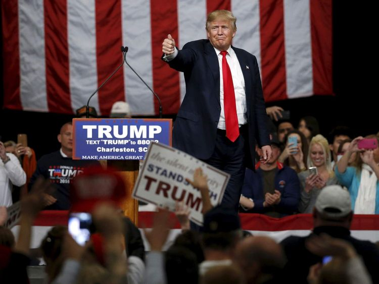 U.S. Republican presidential candidate Donald Trump holds a rally with supporters at the convention center in North Charleston