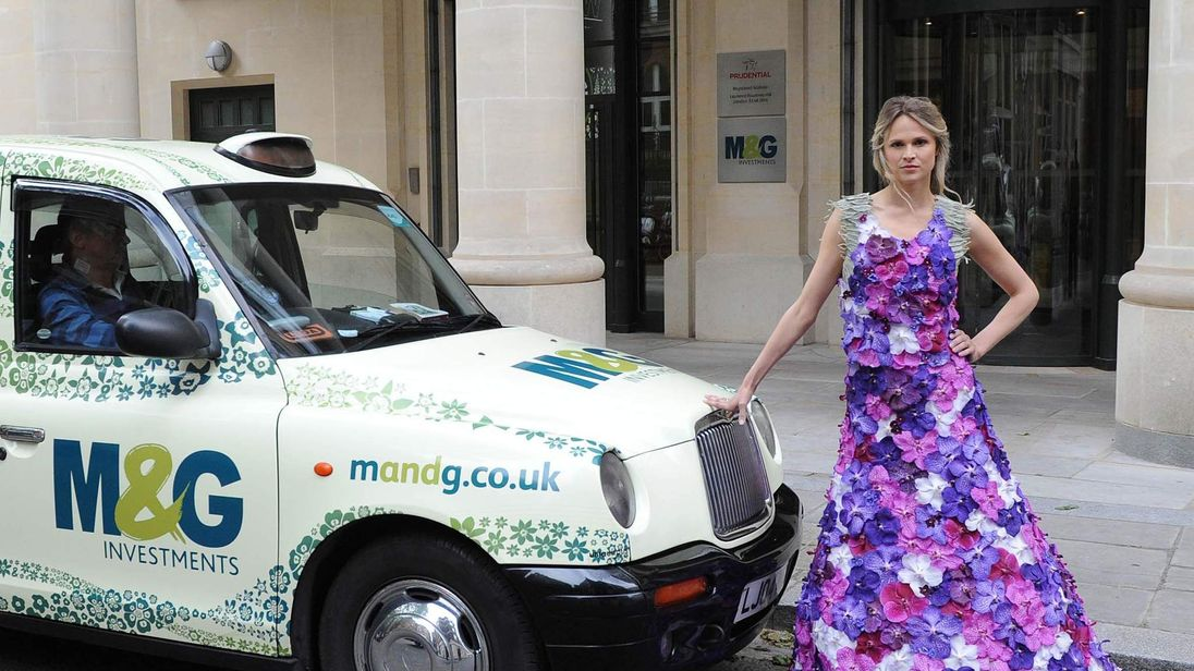 a dress of a 1,000 Orchids created by M&G Investments leads the way to the RHS Chelsea Flower Show