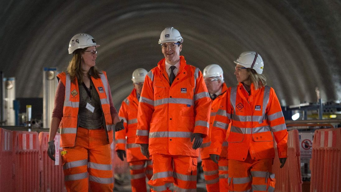 Chancellor of the Exchequer George Osborne Visits Crossrail Station Construction Site