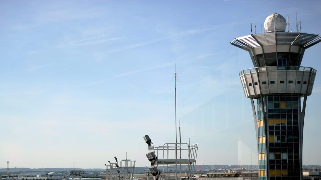 The air traffic control tower at Orly airport near Paris