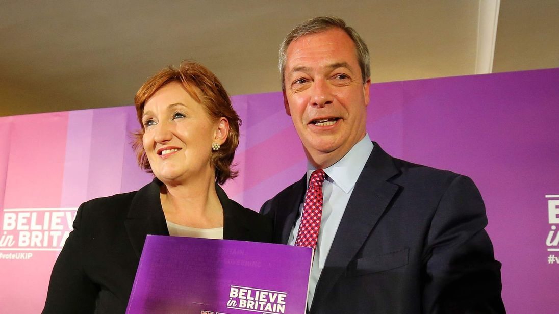 UKIP Leader Nigel Farage with Suzanne Evans in April 2015.