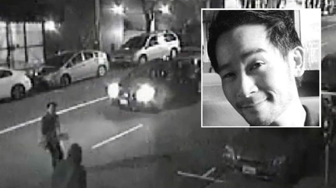 The attack on Paul Tam (inset) was captured on CCTV. Pic: San Francisco Police/LinkedIn