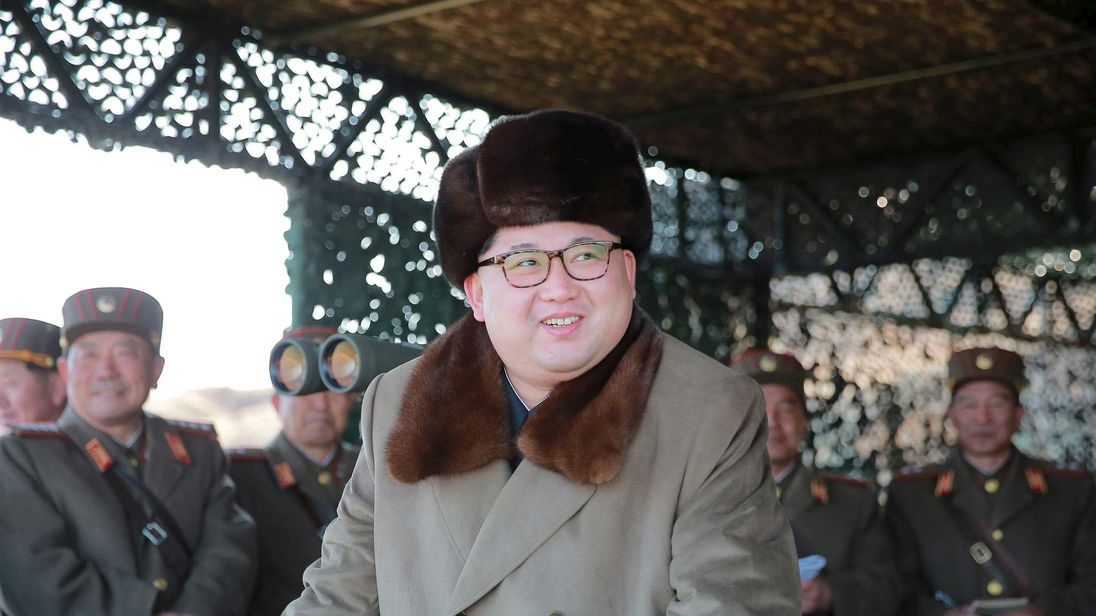 KCNA picture shows North Korean leader Kim Jong Un watching landing and anti-landing exercises being carried out by the Korean People's Army at an unknown location