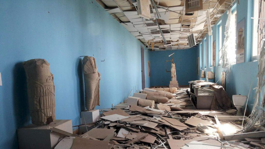 A view shows damaged artefacts inside the museum of the historic city of Palmyra, after forces loyal to Assad recaptured the city