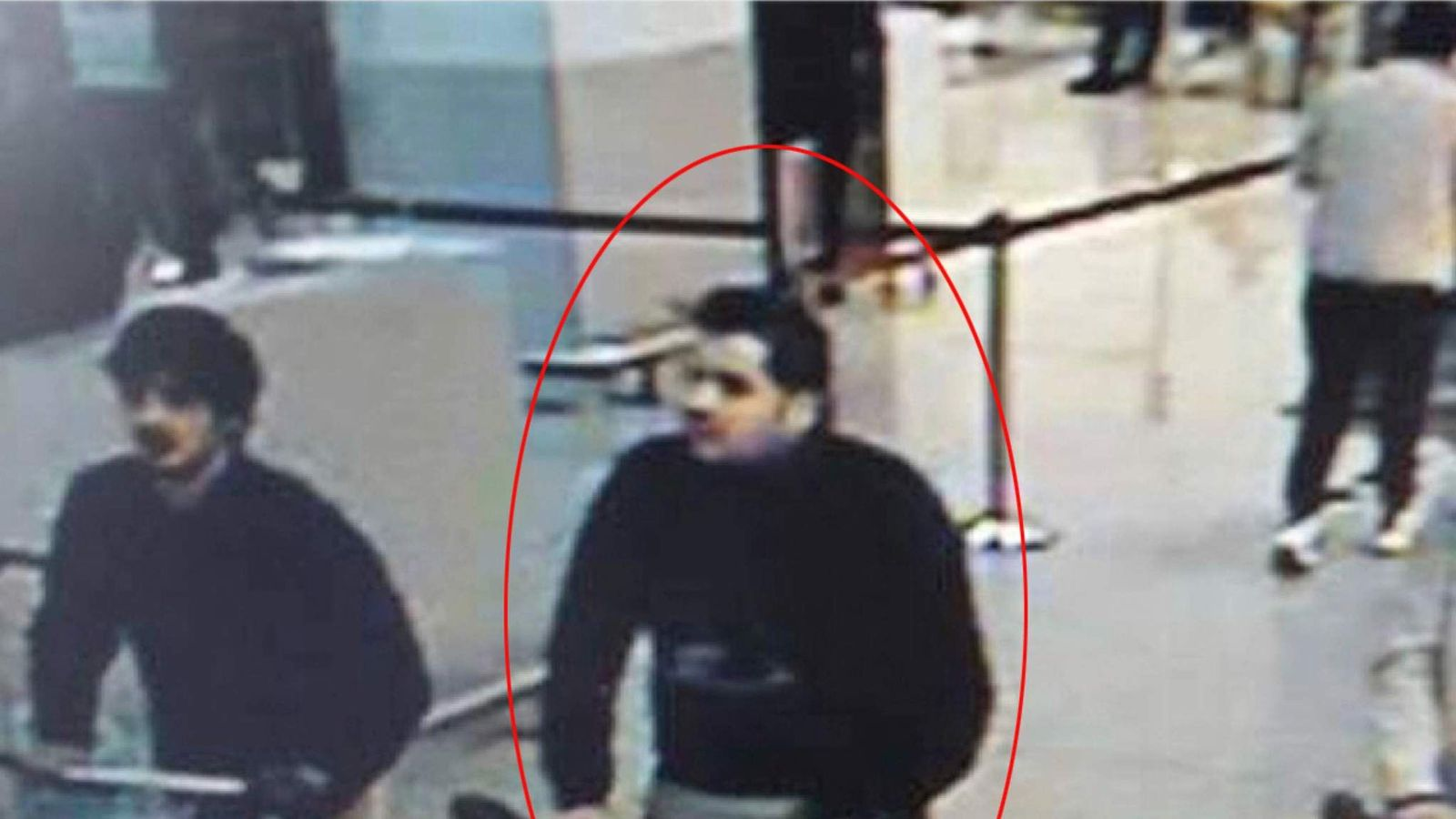 Najim Laachraoui and Ibrahim El Bakraoui (circled)