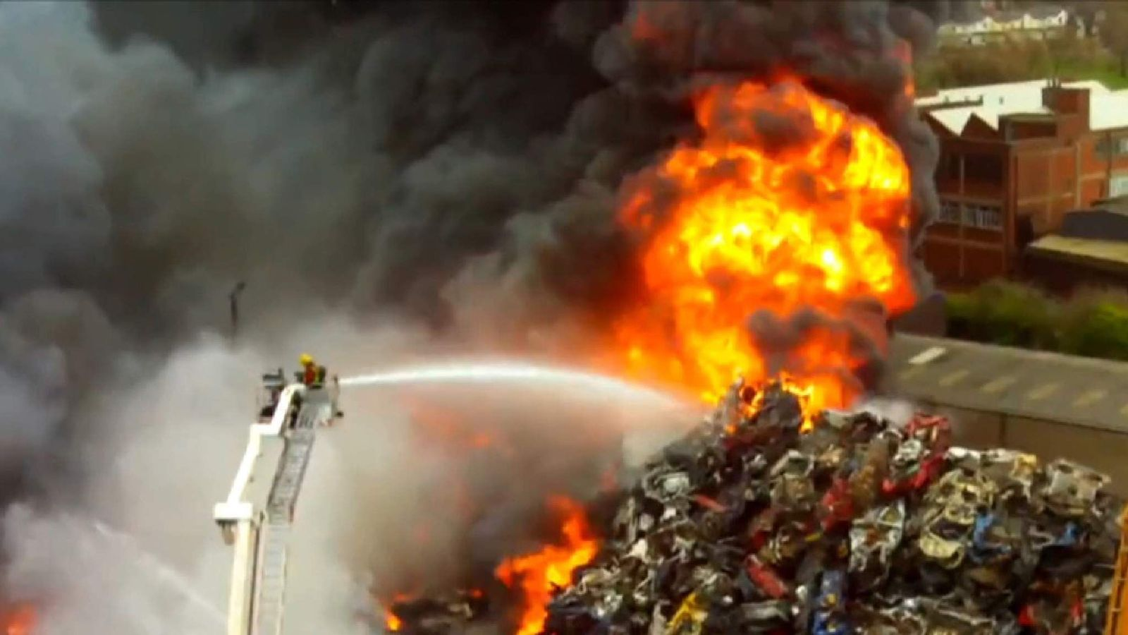 Fire At Birmingham Recycle Plant Drone Screen Shot