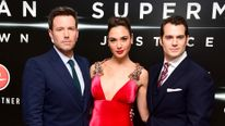 Ben Affleck, left, Gal Gadot and Henry Cavill