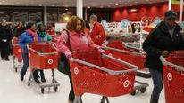 Thanksgiving Day shoppers line up to start shopping at a Target store in Chicago