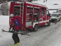 Rescue efforts after an avalanche in the Italian Alps.