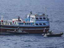 HMAS Darwin intercepts a fishing vessel off the coast of Oman.