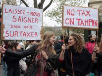 Protesters in Paris call for reduced taxes on sanitary products