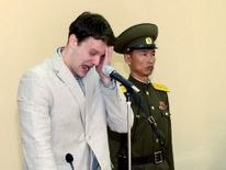 KCNA picture shows U.S. student Otto Warmbier crying at court in an undisclosed location in North Korea