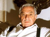 Academy Award winning Ken Adam sits at his home in Knightsbridge. The 78-year-old Ken Adam will appl..