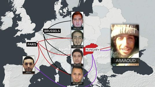 Graphic showing links between Brussels and Paris attackers