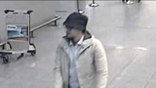 CCTV allegedly showing one of the Brussels Airport attackers walking through the airport