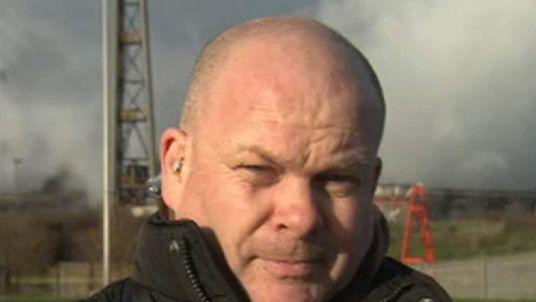 Steelworker Reg Gutteridge talking to Sky News