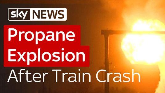 Train smashes into propane truck