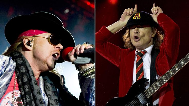 Axl Rose (left) of Guns N' Roses and Angus Young of AC/DC