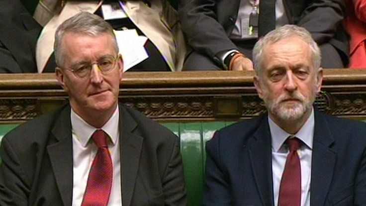 Shadow foreign secretary Hilary Benn (left) and Labour Party leader Jeremy Corbyn in the House of Commons.