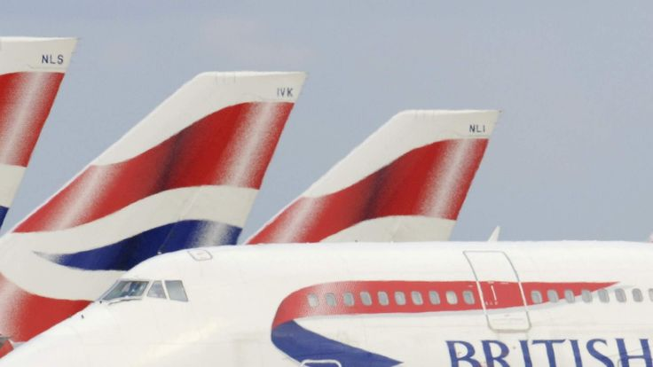 A file photograph shows British Airways aircraft at Heathrow Airport in west London