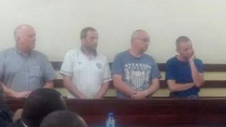 The four British men arrested in Kenya after reportedly taking pictures of planes. Pic courtesy of The Sun.