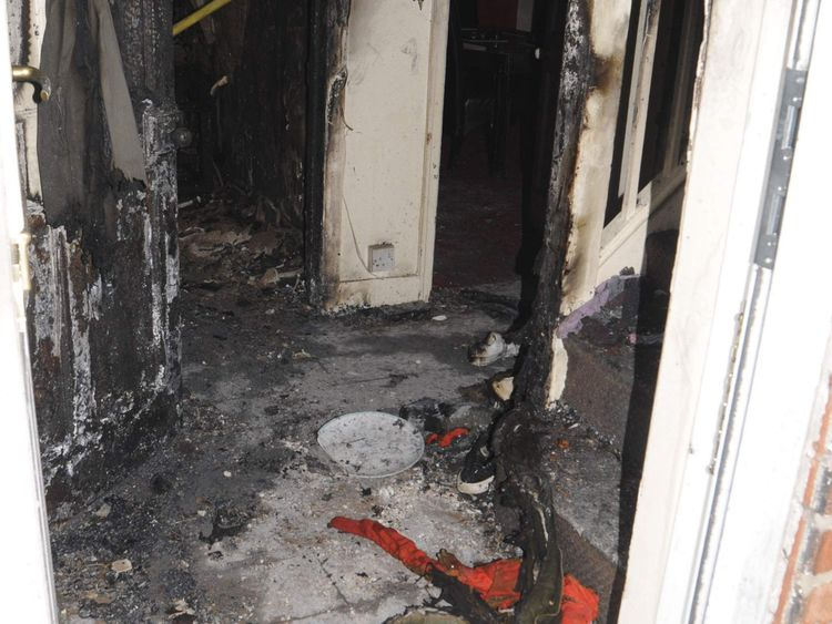 Undated handout photo issued by Greater Manchester Police of the inside of a house where a 49-year-old woman was doused with petrol before she was set alight.