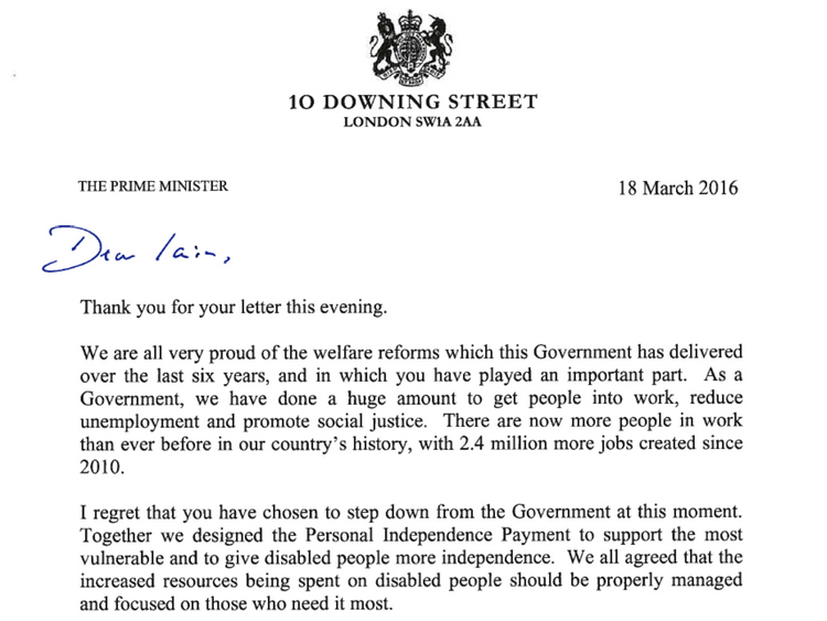 Cameron's Full Letter To IDS