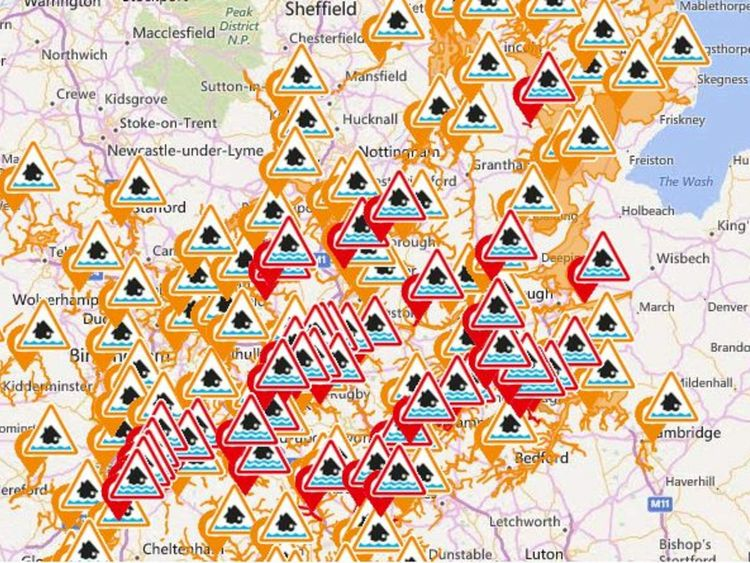 Flood warnings in Midlands