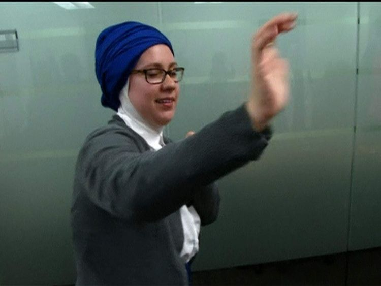 Muslim woman at self-defence class in Washington