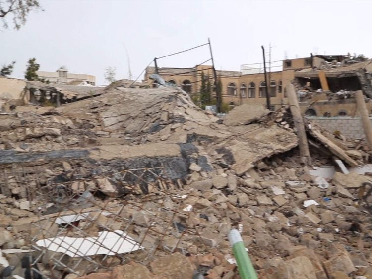 Yemen - buildings near the capital Sana'a destroyed in an airstrike