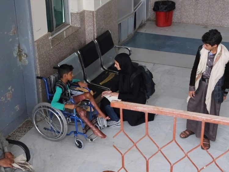 Yemen - 13-year-old Mohamed Ghaleb wounded in airstrike