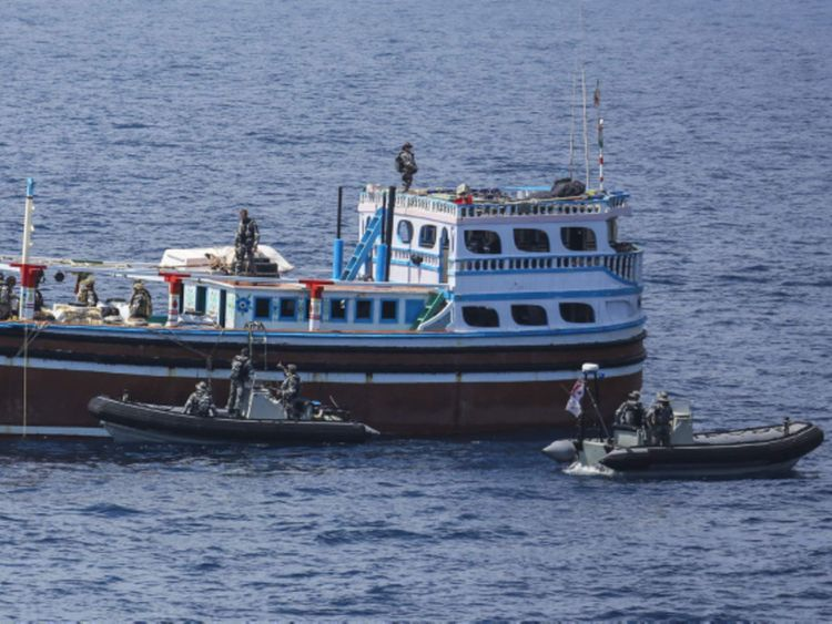 HMAS Darwin intercepts a fishing vessel off the coast of Oman.