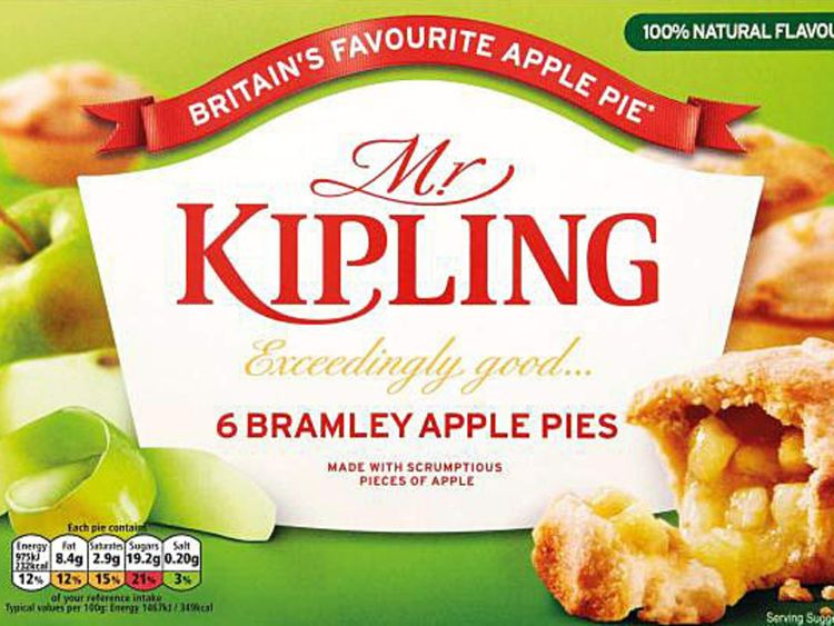 Mr Kipling packaging showing new government food labelling