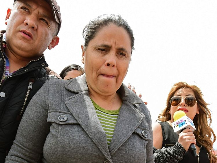 Bernarda Guzman Loera protested outside the jail where her brother is being held