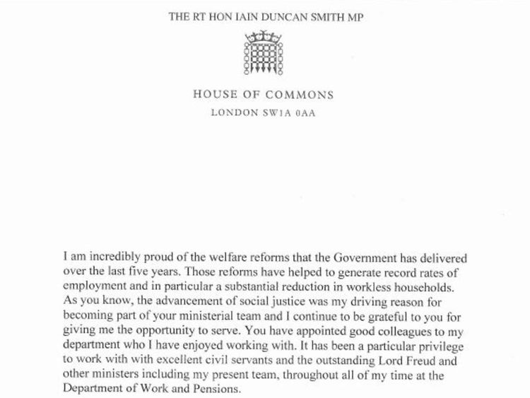 IDS's resignation letter to Cameron