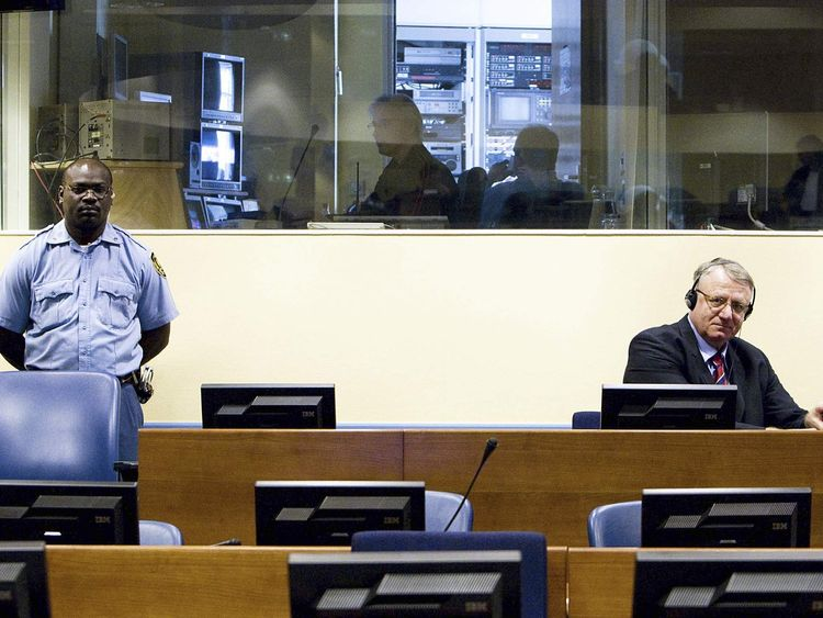 Serbian ultranationalist Vojislav Seselj attends his trial at the UN war crimes tribunal in The Hague