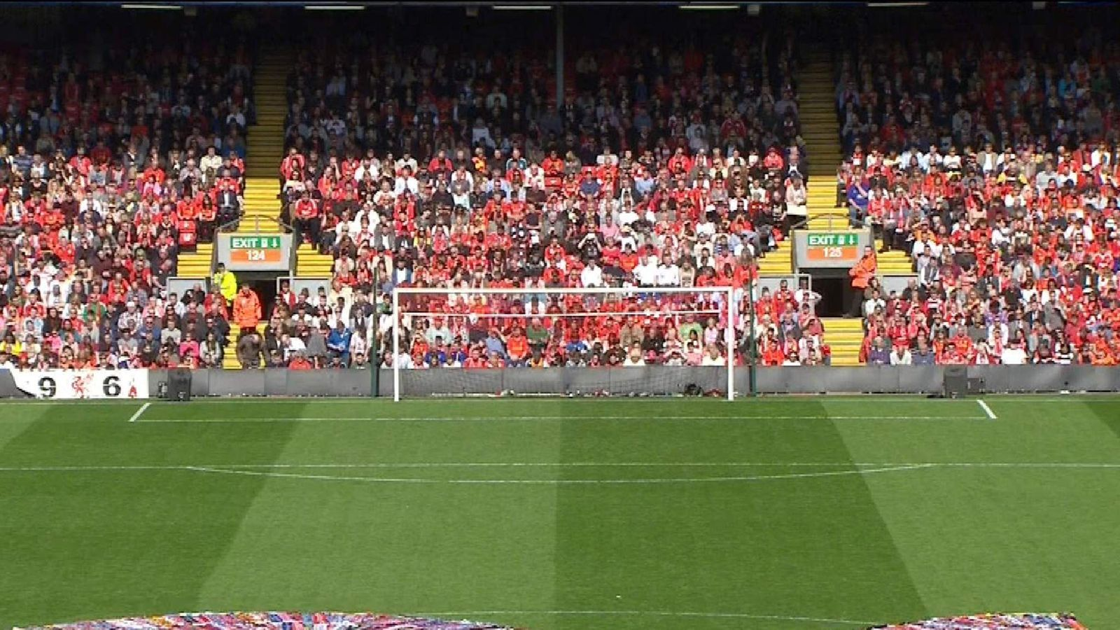 The number 96 made from flags in the centre of Anfield's pitch