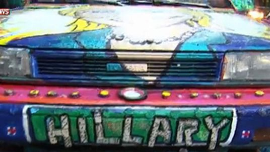 Hillary car in Manhattan to support Hillary Clinton on New York primary day